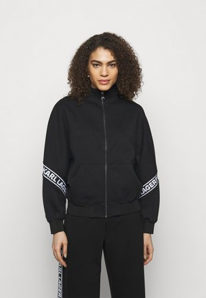 LOGO TAPE ZIP-UP - Zip-up hoodie - black