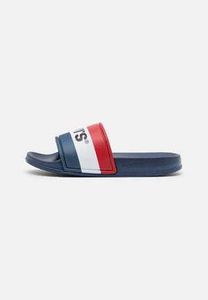 POOL UNISEX - Pantolette flach - navy/red