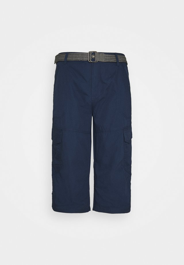 LONG CARGO WITH BELT - Shorts - navy