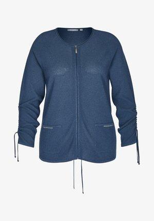 MIT SCHMUCKSTEINEN UND REIßVERSCHLUSS - Cardigan - blau
