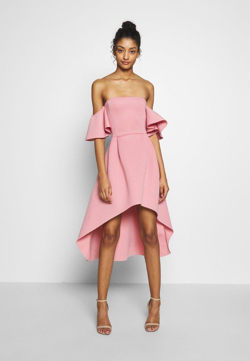 Missguided - BARDOT HIGH LOW MIDI DRESS - Sukienka koktajlowa - blush