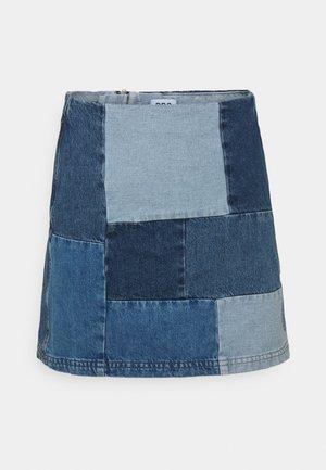 PATCHWORK PELMET SKIRT - Mini skirt - blue