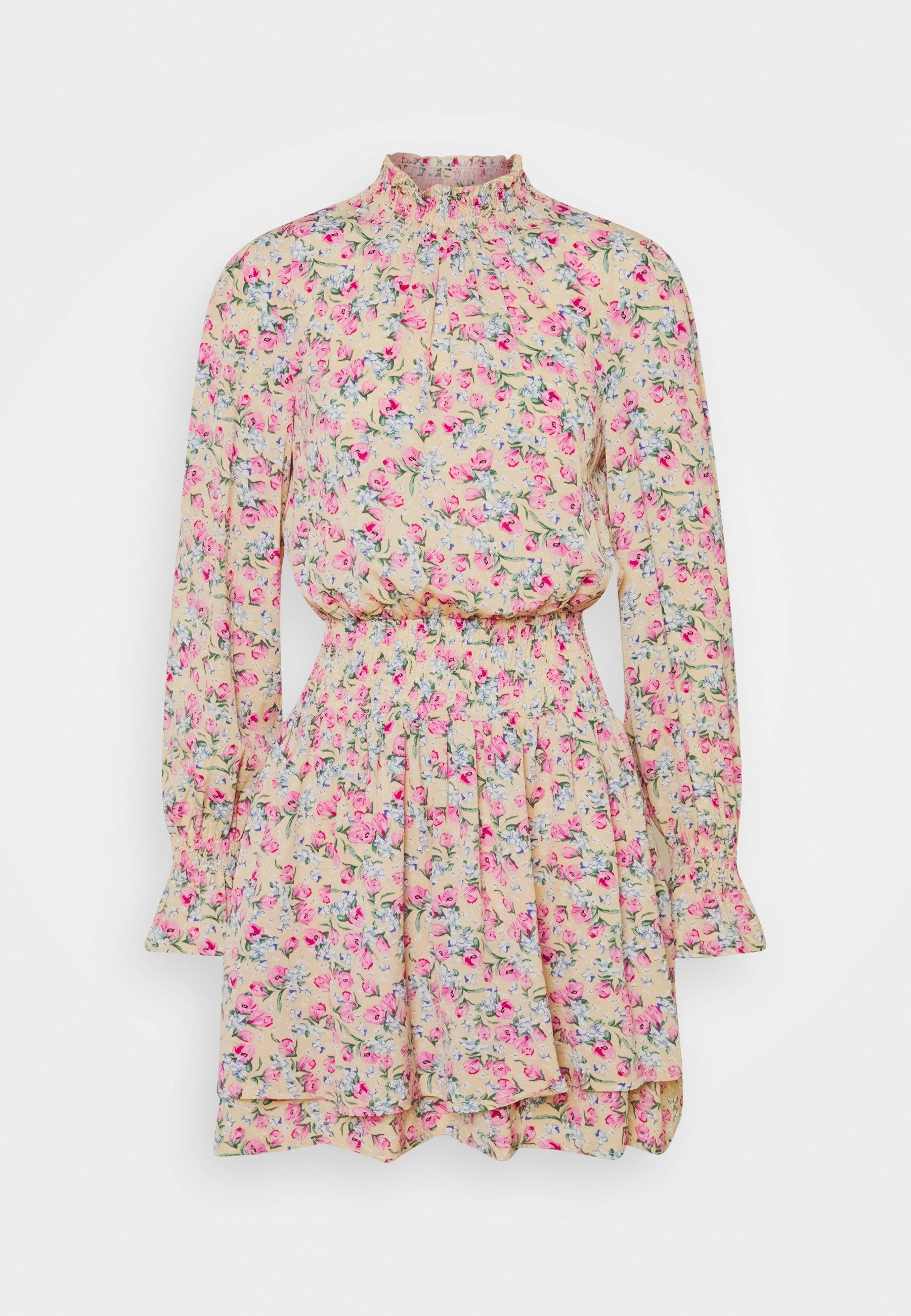 Women FLORAL HIGH NECK SHIRRED MINI DRESS - Day dress