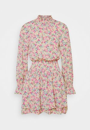 FLORAL HIGH NECK SHIRRED MINI DRESS - Kjole - multi