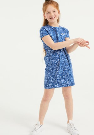 MET DESSIN EN STRUCTUUR - Jersey dress - blue
