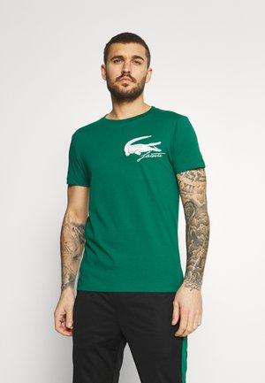 LOGO - Print T-shirt - bottle green/white
