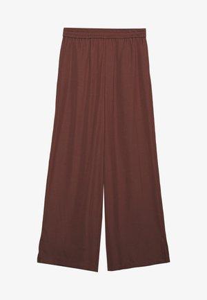 MIJA PANTS ELASTIC WAISTBAND WIDE LEG - Kalhoty - dark chocolate