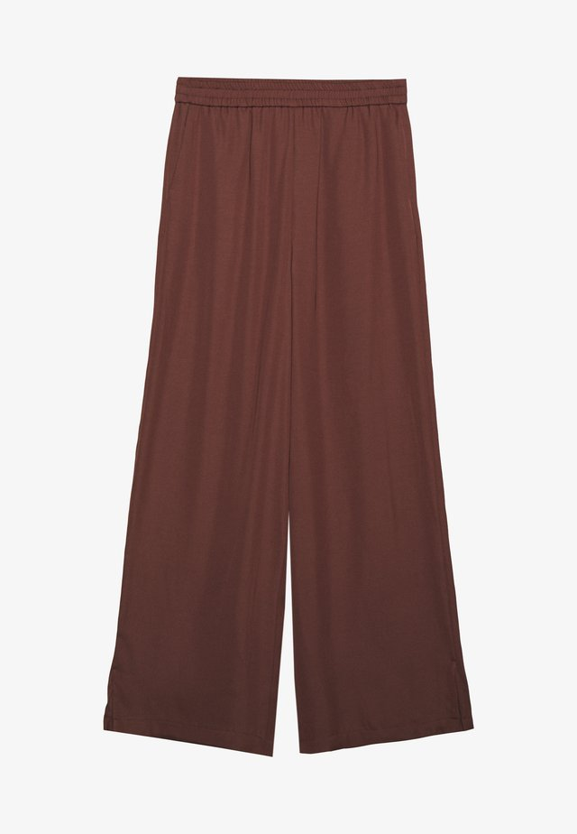MIJA PANTS ELASTIC WAISTBAND WIDE LEG - Pantalon classique - dark chocolate