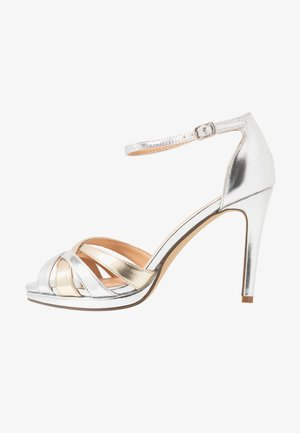 CACY - High heeled sandals - silver/gold
