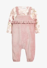 Next - DUNGAREE AND FLORAL BODYSUIT SET - Body - pink - 0