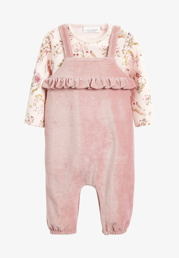 Next - DUNGAREE AND FLORAL BODYSUIT SET - Body - pink