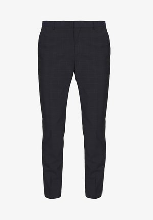 WINDOW CHECK SLIM PANTS - Trousers - blue