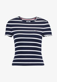 Tommy Jeans - STRIPED BABYLOCK TEE - Print T-shirt - black iris/classic white - 4