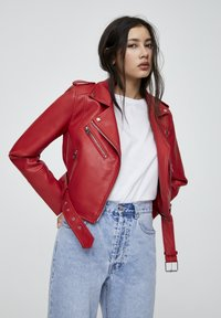 PULL&BEAR - Faux leather jacket - metallic red - 0