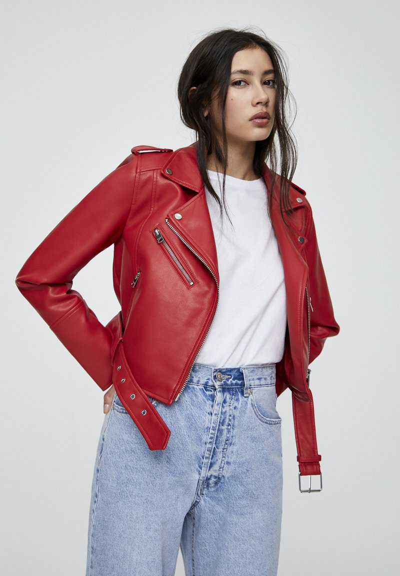 PULL&BEAR - Faux leather jacket - metallic red