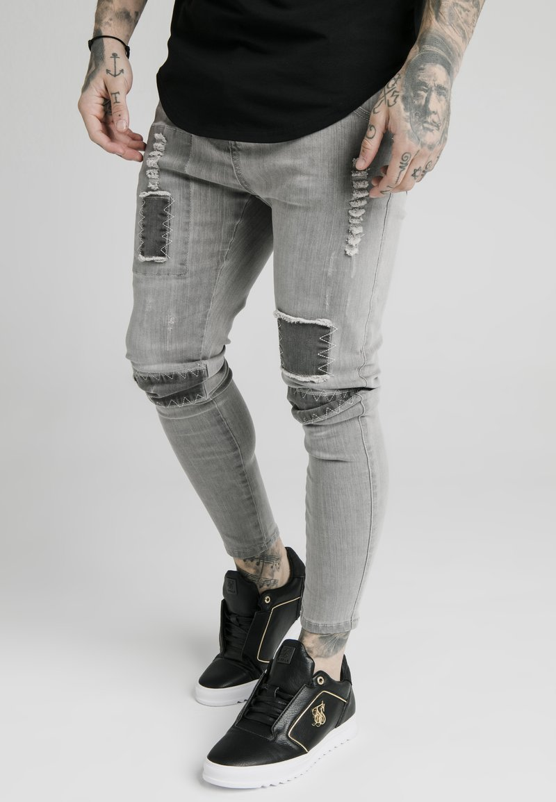 SIKSILK - SKINNY FIT PATCH - Jeans Skinny Fit - washed grey
