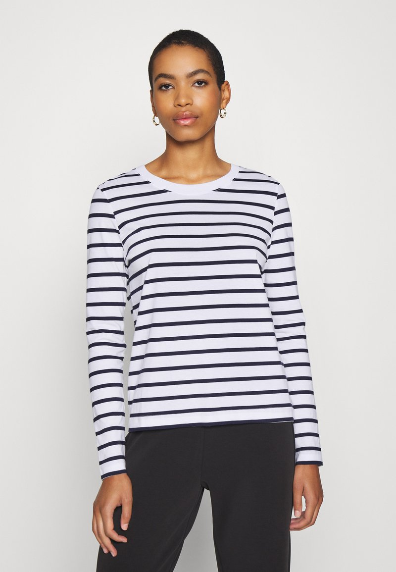 Selected Femme - SLFSTANDARD NEW TEE - Long sleeved top - maritime blue/bright white