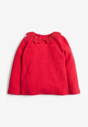 BRUSHED BRODERIE COLLAR  - Long sleeved top - red