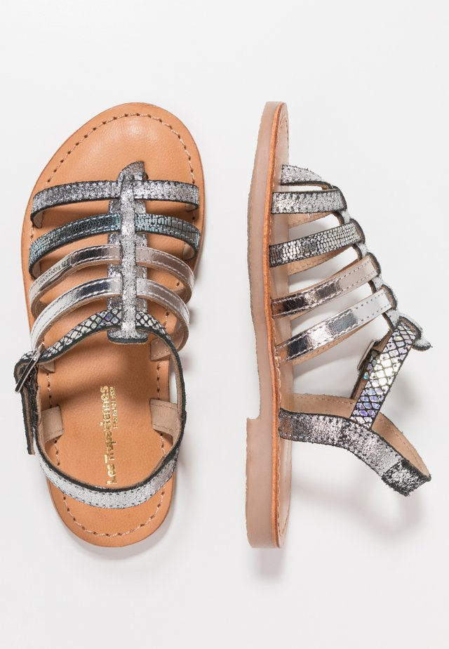 HIRSON - T-bar sandals - argent serpent