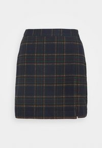 CHAIN PLAID MINI STATEMEN - Mini skirt - navy