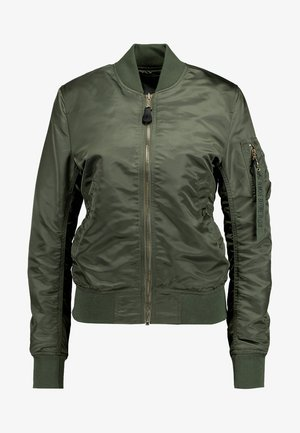 Bomber bunda - sage green/gold