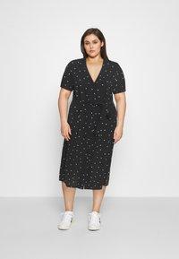 ONLY Carmakoma - CARLUXMILA CALF SHIRT DRESS  - Day dress - black/white - 1