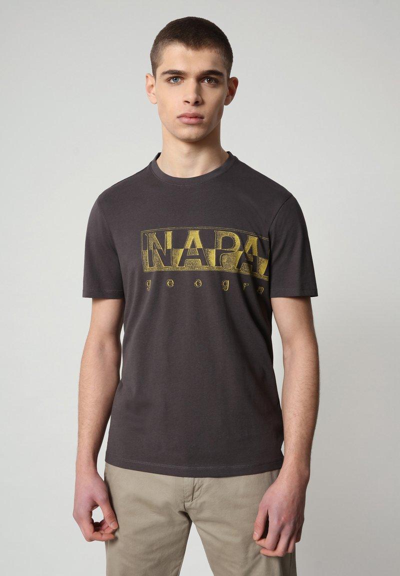Napapijri - SALLAR LOGO - T-shirt print - dark grey solid