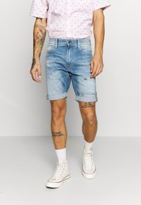 G-Star - 3301 SLIM  - Denim shorts - elto superstretch - vintage ripped striking blue - 0