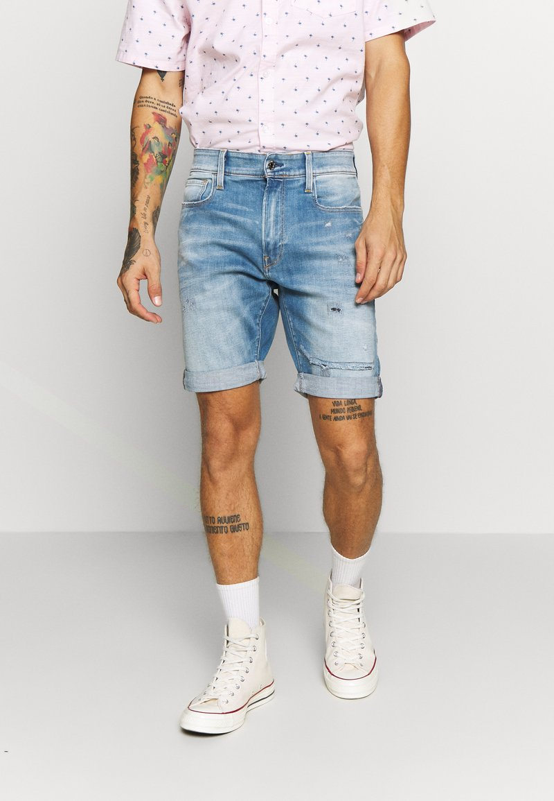 G-Star - 3301 SLIM  - Denim shorts - elto superstretch - vintage ripped striking blue