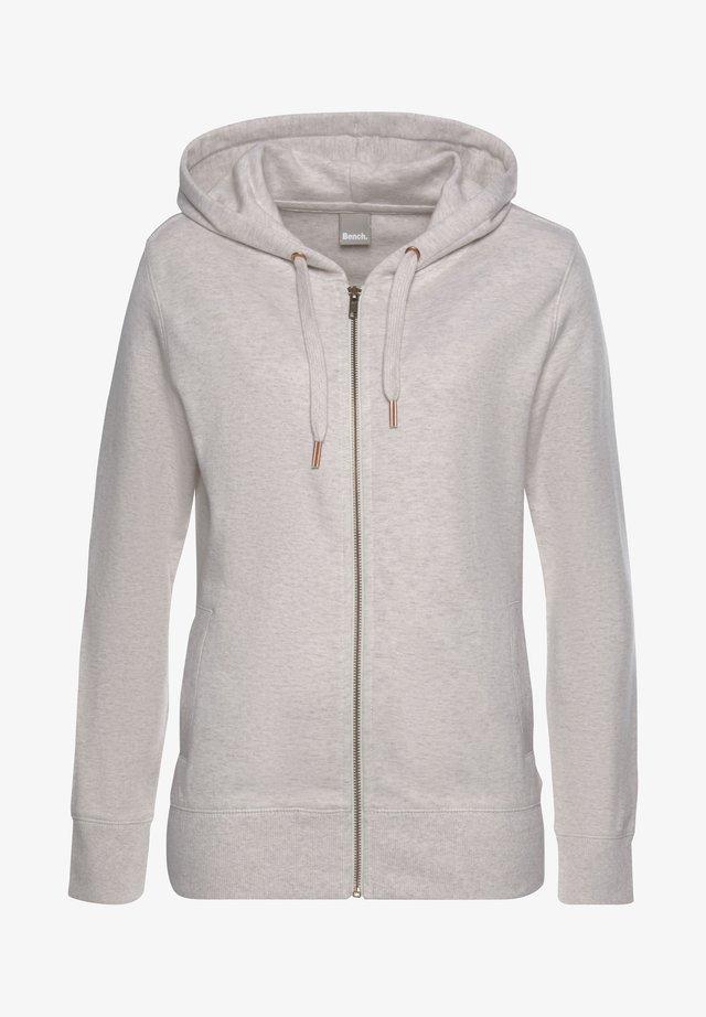 Zip-up hoodie - beige-meliert