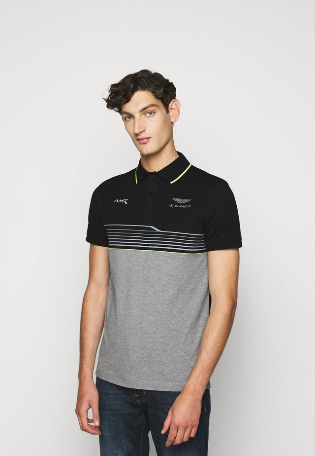 AMR STRIPE POLO - Poloshirt - black/grey