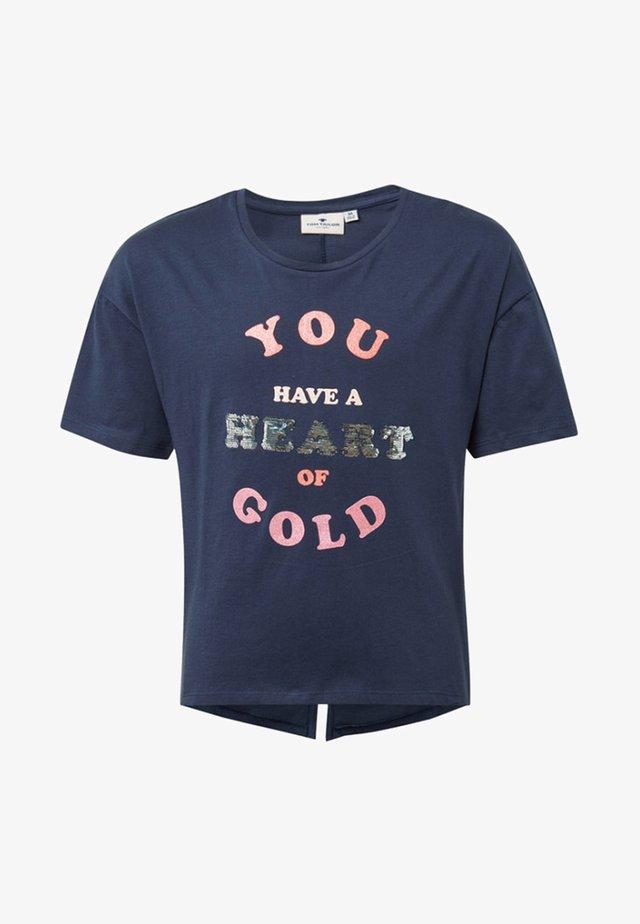 MIT GLITZER-PRINT - Print T-shirt - blue