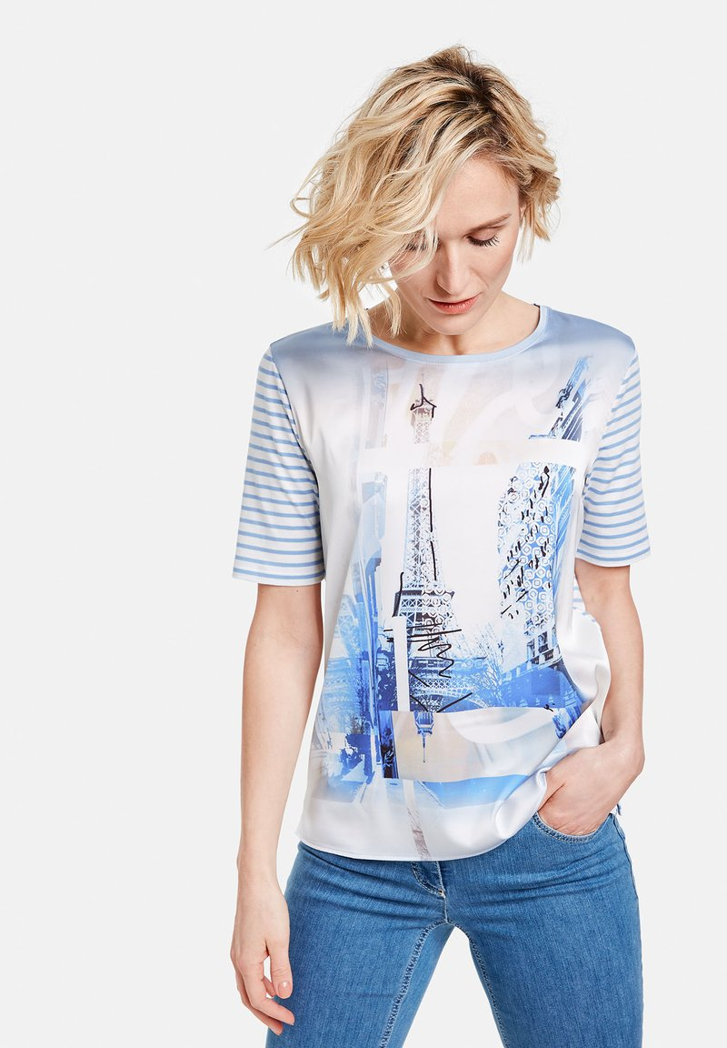 Gerry Weber - MIT MUSTERMIX - Print T-shirt - blau/ecru/weiss multicolor