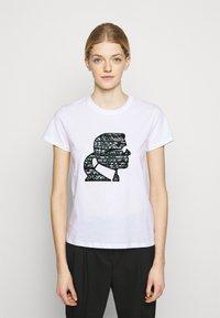 KARL LAGERFELD - SPARKLE PROFILE  - T-Shirt print - white - 0