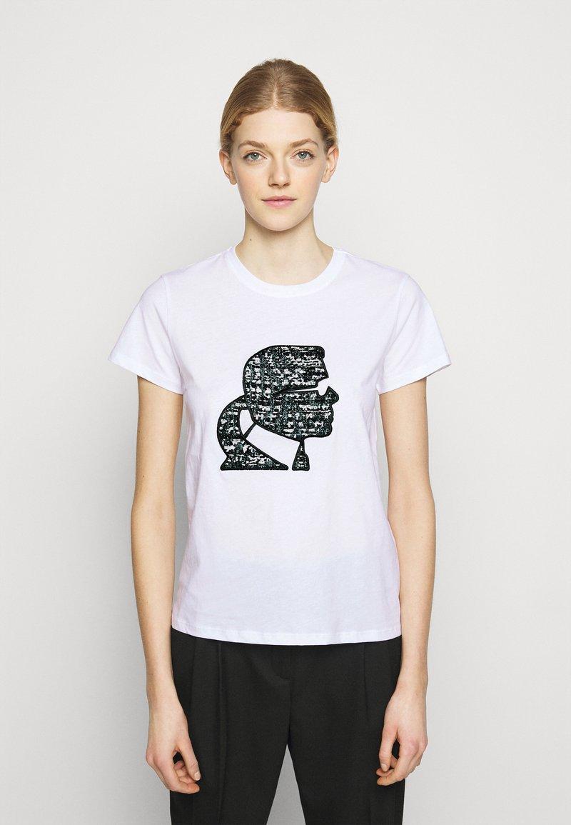 KARL LAGERFELD - SPARKLE PROFILE  - T-Shirt print - white