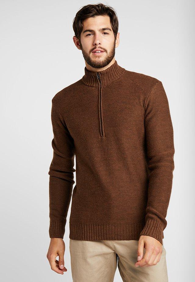 MENS WAYPOINT HALF ZIP - Sweter - bronze heather