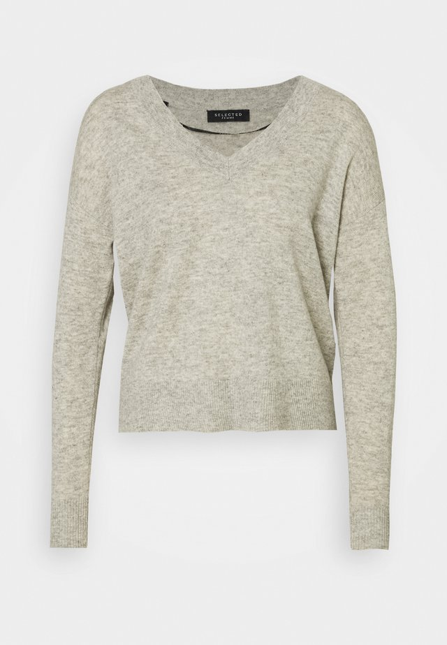 SLFYASMIN V NECK - Strickpullover - light grey melange