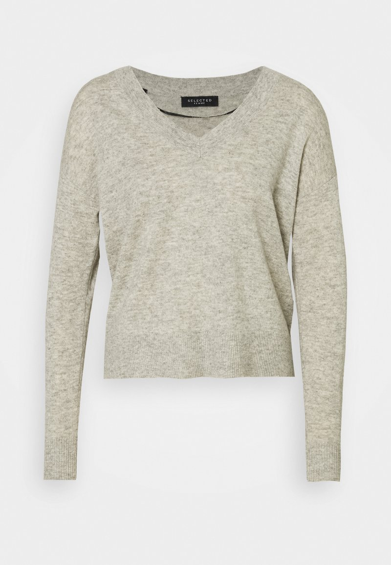 Selected Femme - SLFYASMIN V NECK - Strickpullover - light grey melange