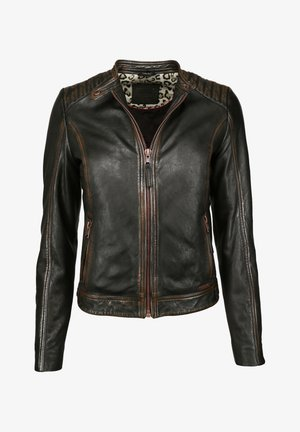 VINTAGE - Leather jacket - schwarz
