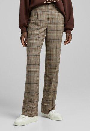 KARIERTE WIDE LEG TAILORING - Trousers - brown