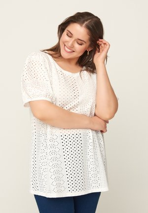WITH BRODERIE ANGLAISE - T-shirt imprimé - off-white
