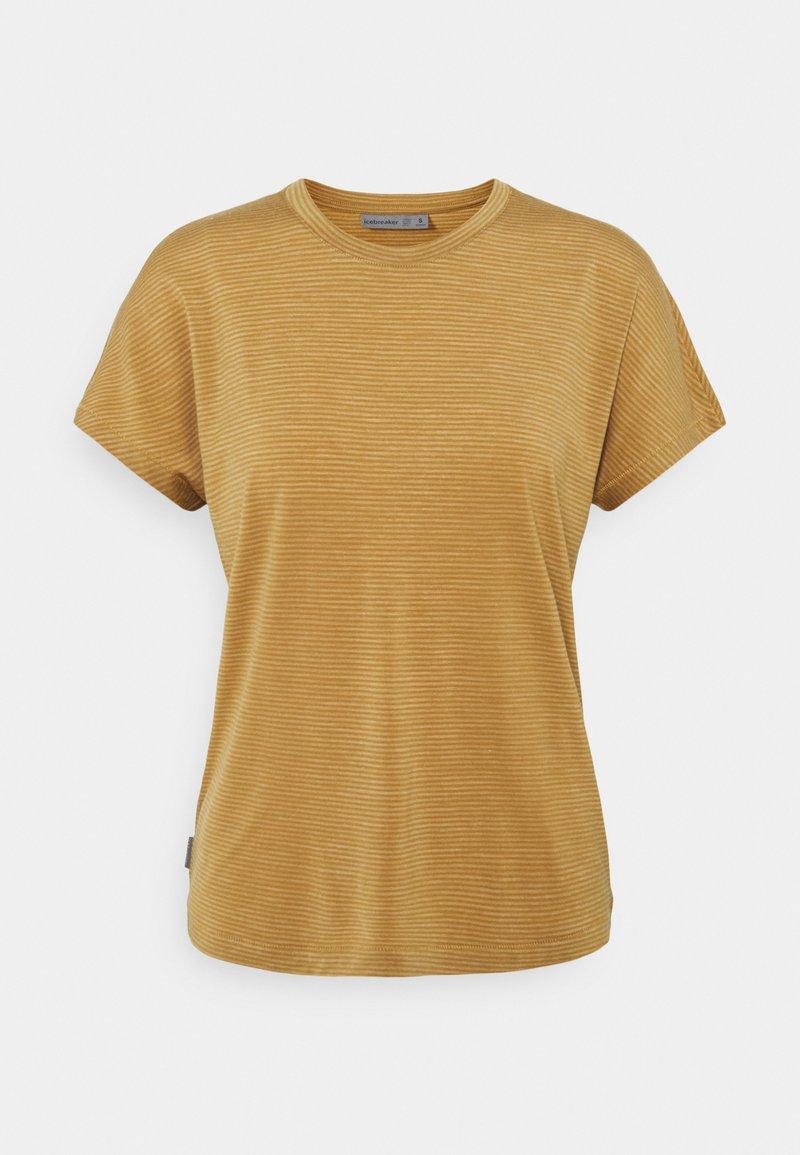 Icebreaker - UTILITY EXPLORE CREW STRIPE - Print T-shirt - coyote