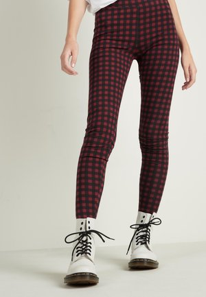 Leggings - Trousers - schwarz - 028u - black/ruby red micro check print