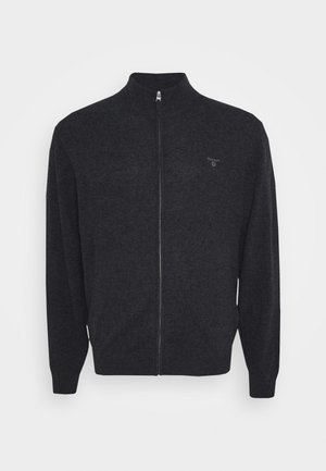 PLUS EXTRAFINE ZIP CARDIGAN  - Kardigan - antracit melange