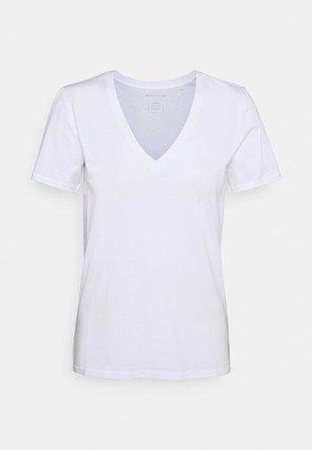 SHORT SLEEVE V NECK - Basic T-shirt - white