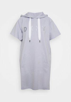 SHORT SLEEVE HOODED SWEATSHIRT DRESS EMBROIDERED LOGO - Day dress - pale blue