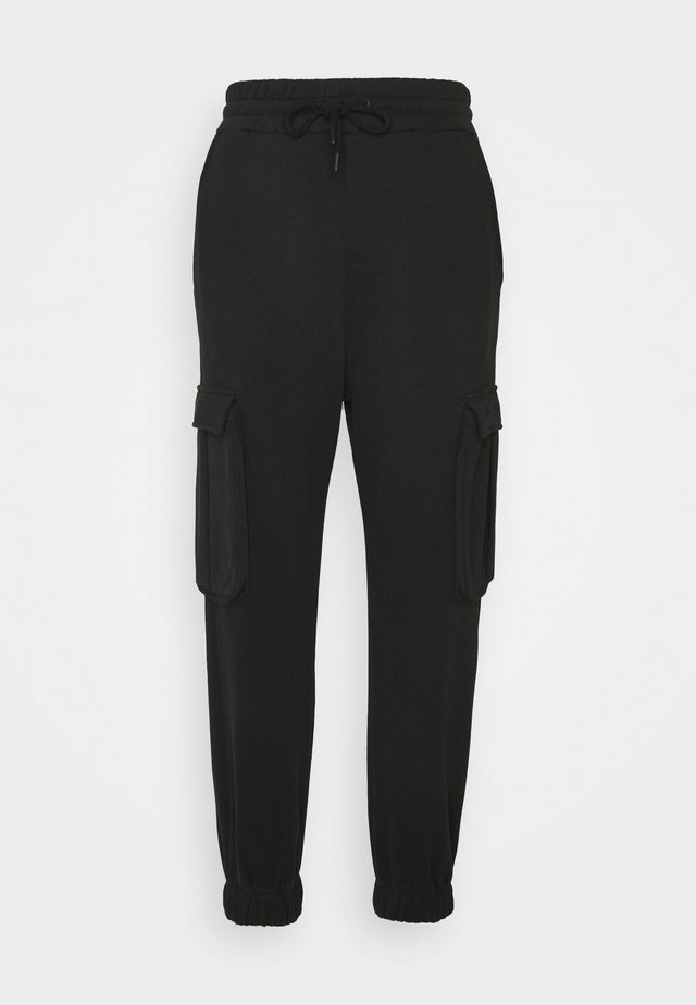 HIGH WAIST CARGO JOGGERS - Pantalon de survêtement - black