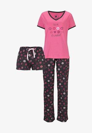 SET - Pyjamas - pink-schwarz-gemustert
