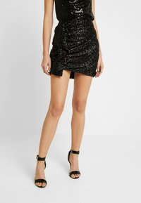 Nly by Nelly - MINI SKEQUIN SKIRT - Minirock - black - 0