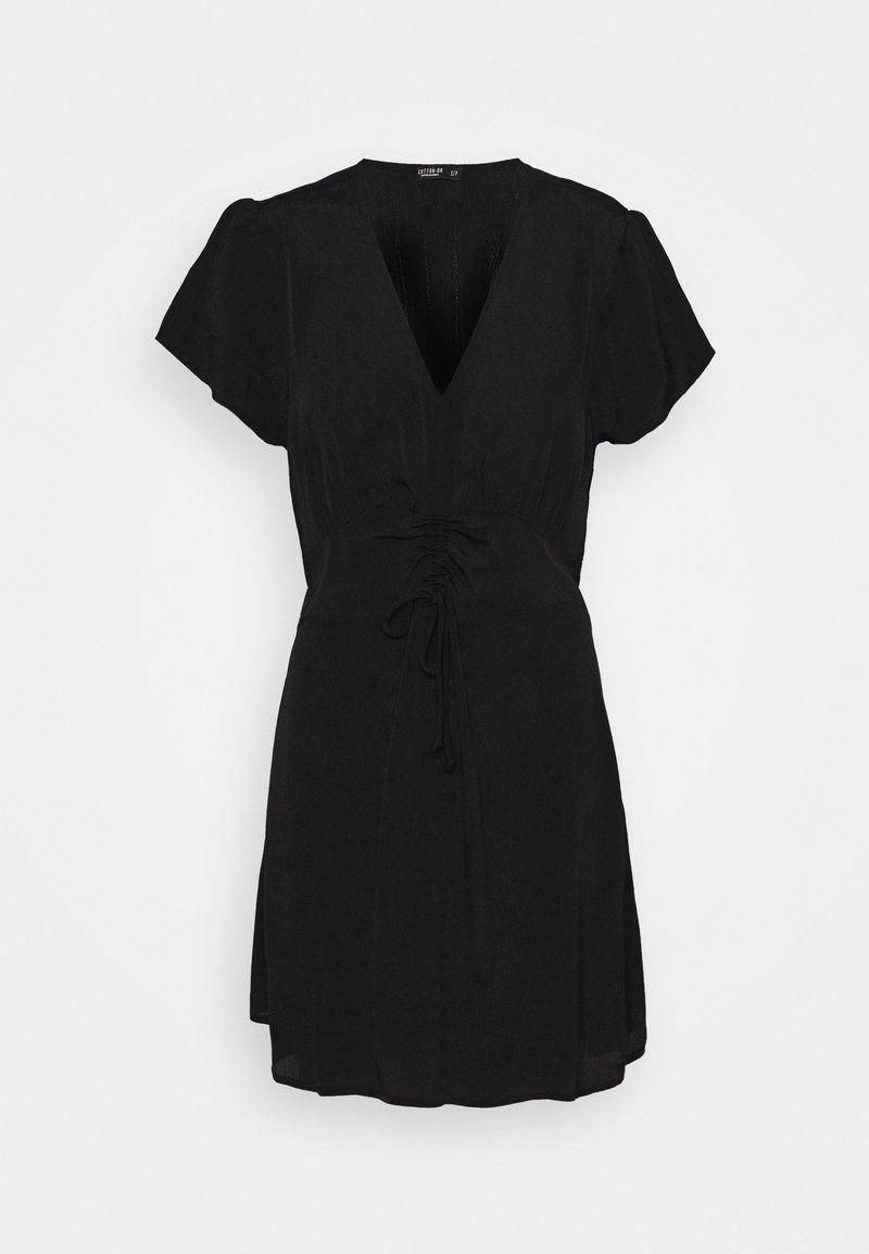 Cotton On - MARISSA GATHERED FRONT MINI DRESS - Kjole - black
